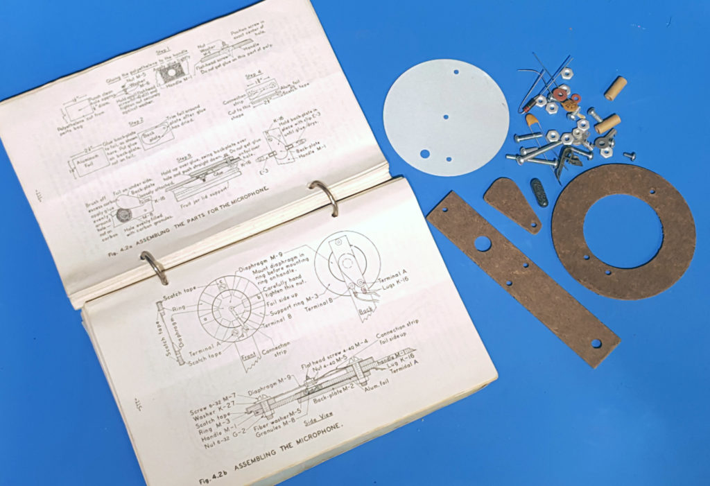 Parts and instructions for the 1960's carbon microphone kit. from American Basic Science Club.