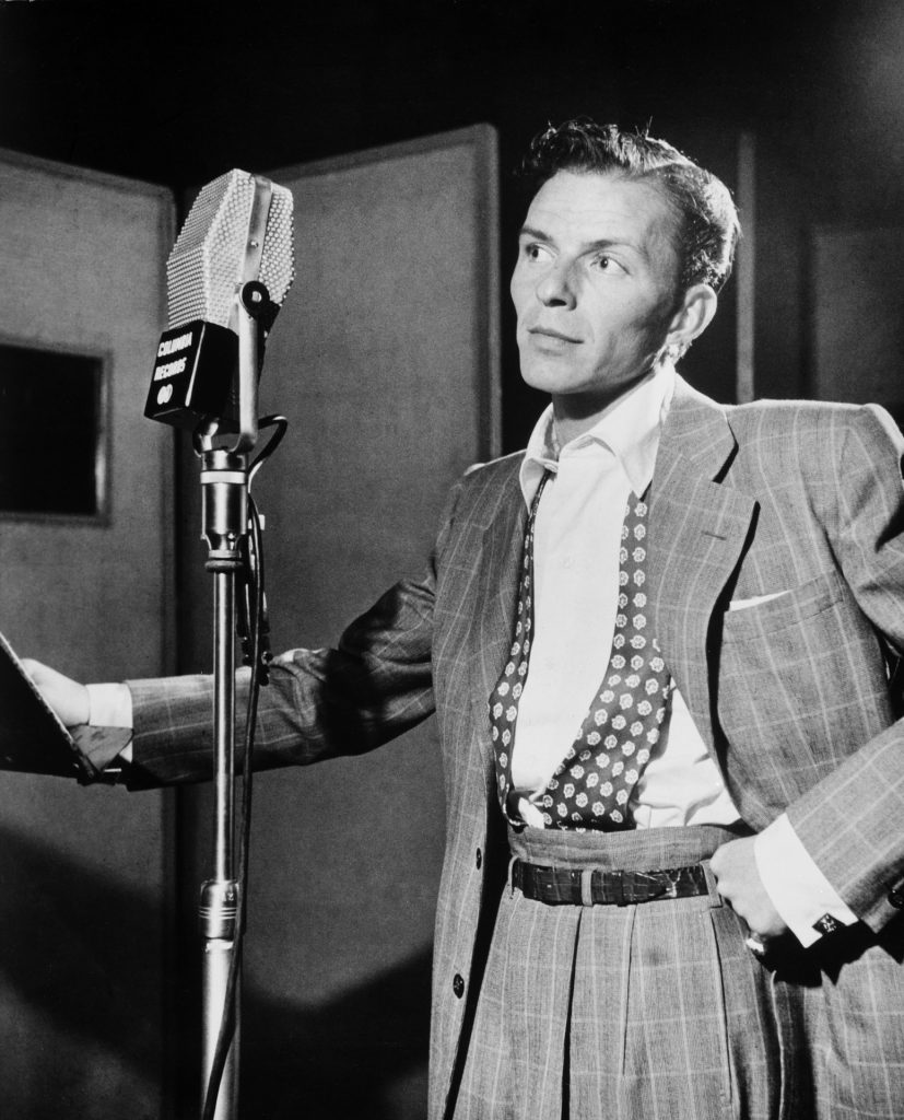 Frank Sinatra at Columbia Records recording on an RCA 44B ribbon microphone.