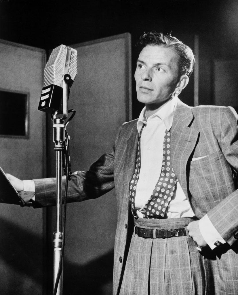 Frank Sinatra at Columbia Records recording on an RCA 44B ribbon microphone.